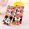 Para iphone hard casos mickey minnie mouse case luxo celular acrílico casos de telefone para o iphone 6 6 s plus capa case com anel stand