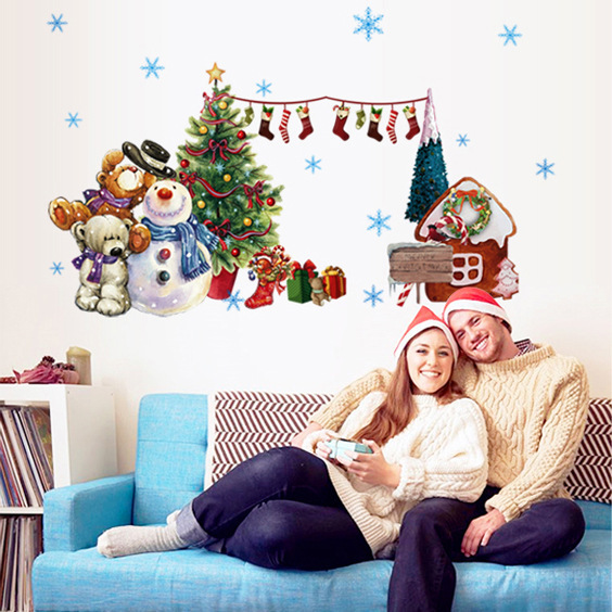 Aliexpress.com : Buy New Happy Christmas Day Decoration Wall Stickers Xmas Stikers Santa Claus ...