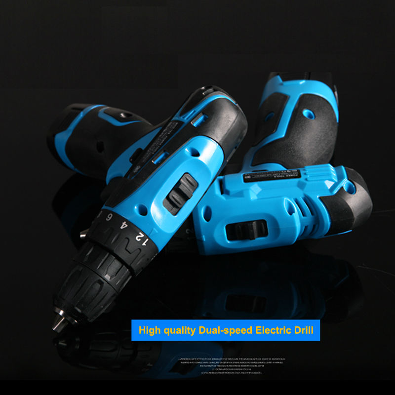 ФОТО Rechargeable 21V Tow-speed Cordless drill Lithium Battery electric drill bit screwdriver power tool function + 27pcs accesories