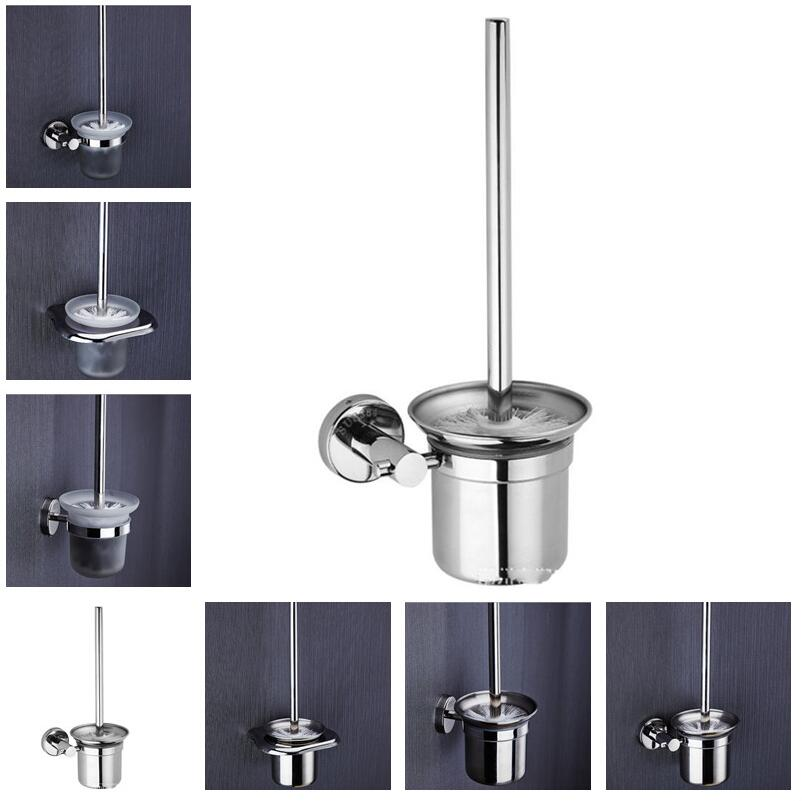 Modern Wall Mounted 304 Stainless Steel Polished Toilet Brush Holder With Glass/Stainless Steel Cup Bathroom Accessories
