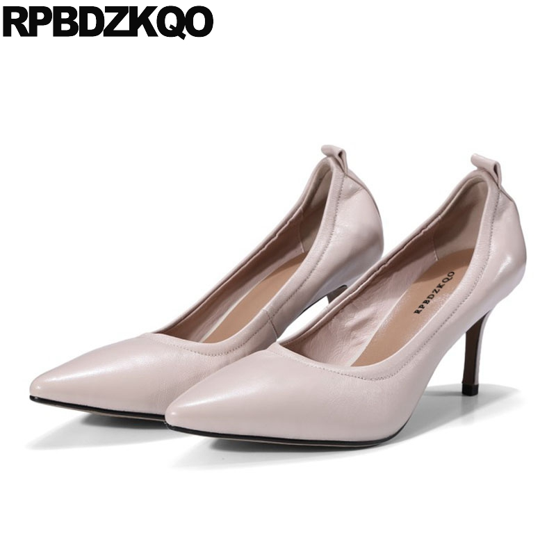 Court Brown High Quality Pointed Toe Heels Genuine Leather 3 Inch 2018 Pumps Stiletto Nude Size 4 34 Sheepskin Shoes Women Low