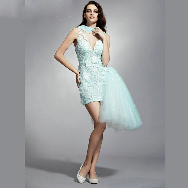 3abd399fde6 fashion light green short prom dress 2016 new o neck beaded flowers tulle  slim coctel dresses for formal party