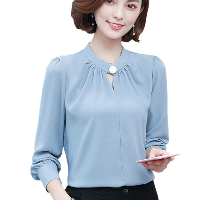 5ea26392c26d41 Korean Elegant Office Wear Women Tops Long Sleeve Chiffon Shirt Blouse 2017  Chiffon Blouse For Women Blusas Femininas S-XXL