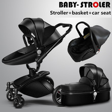 Brand baby 3PCS 2017 Hot Sale New Brand Baby Strollers 3 In 1 Leather Pram Europe Car Seat Basket Bassinet Golden Frame Gifts