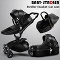 Marca cochecitos de bebé 3 en 1 de cuero del bebé prame AULON europa cochecitos de bebé del asiento de coche de cuero cesta de material marco de oro negro