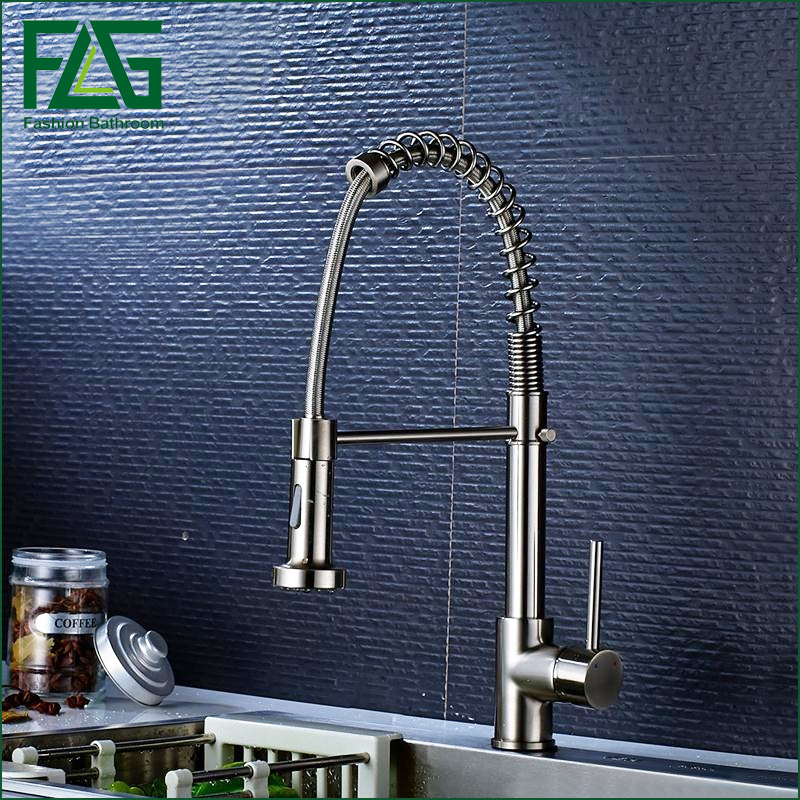 FLG20020NS New Design griferia cocina Nickel Brushed Pull Out Kitchen Faucet Copper Kitchen TapS Mixers Kitchen