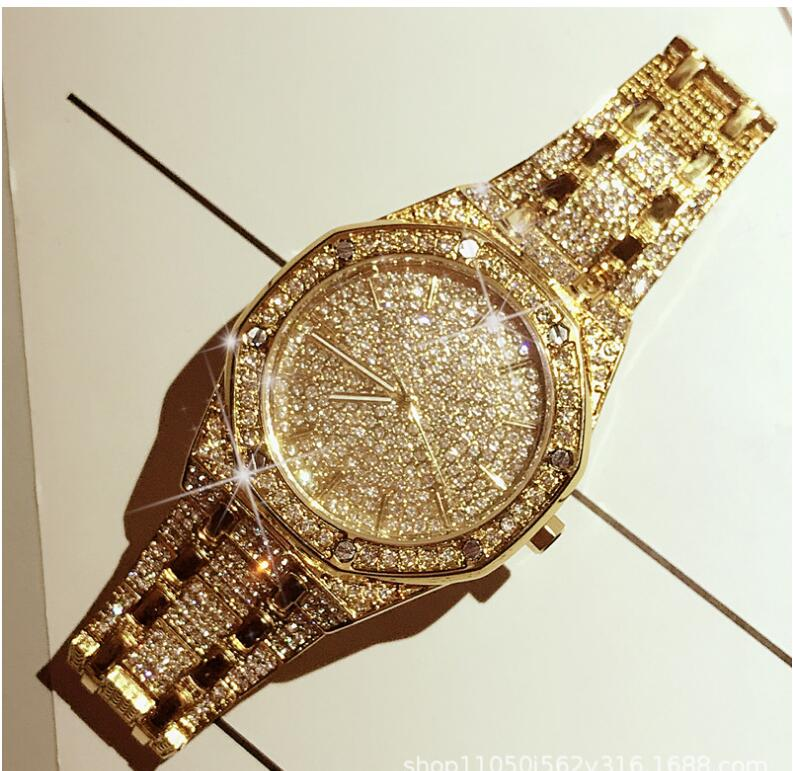 Luxury Brand Men Women Watch Crystal Bracelet Golden/Silver Plated Big Dial Male Ladies Shining Dress Quartz Wristwatches