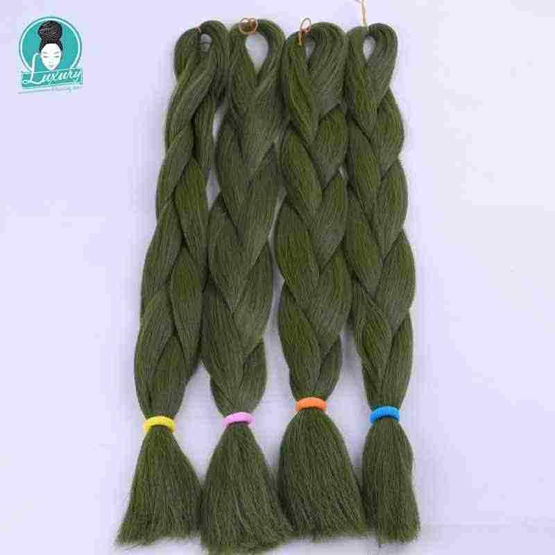 """Luxe 1 Pack 24 """"80G 60 Cm Gevouwen Grey Bubblegum Blonde Denimblue Olijfgroen Benzine Synthetische Vezel Jumbo vlechten Haar"""