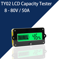 8 80V 50A Battery Capacity Tester Indicator Coulometer Voltage/Current Test Lithium/Lead Acid Battery Meter