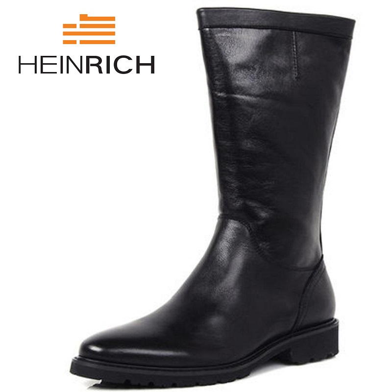 HEINRICH 2018 Genuine Leather Mens Shoes Leather Riding Boots Winter Work Safety Boots Black Mens Military Boots Chuteira vasque mens boots skywalk gtx insulated 7052 black leather