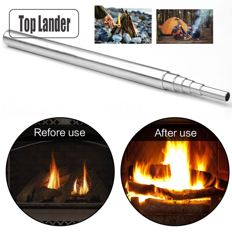 Stainless Steel Blow Torch Camping Blowpipe Tube Fire Tool Fire Starter Portable