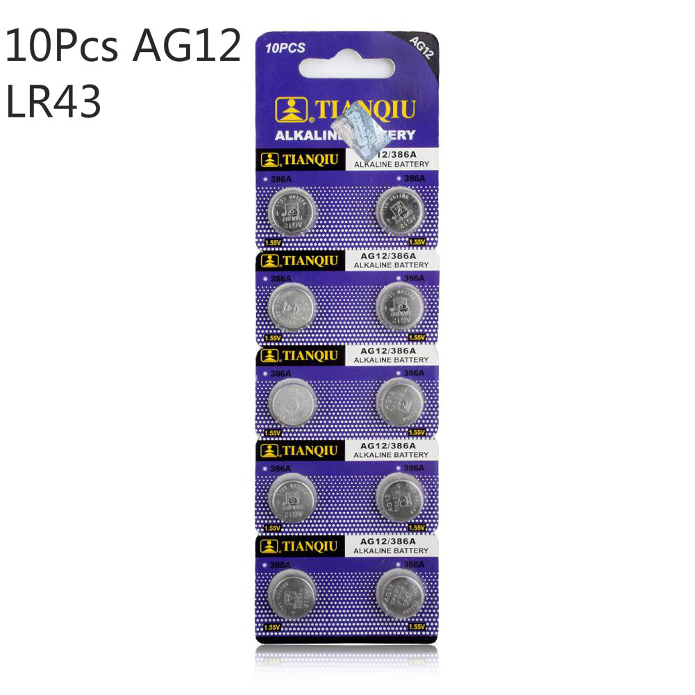 10pcs 1 55v Ag12 Alkaline Battery SR43W R43 SR1142 SB B8 V386 D386 260 S1142E GP386 SG12 LR43 386A LR1144 Button Coin Cell in Button Cell Batteries from Consumer Electronics