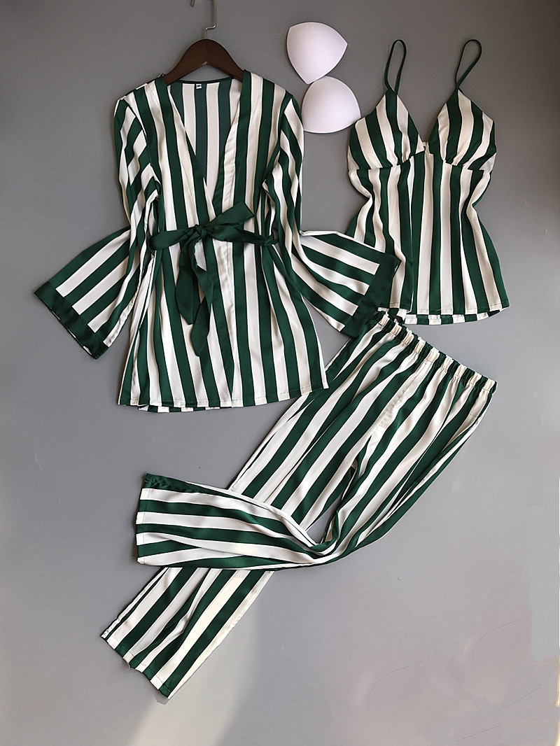 Lisacmvpnel 3 Pcs Striped Sexy Women Pajama Sets Nightdress+Robe+Pant Female Pajamas 45