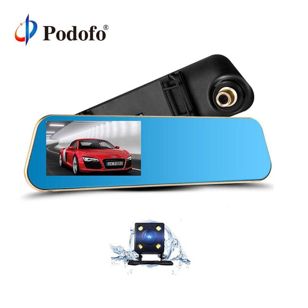Podofo двойной объектив автомобиля камера регистраторы обзор зеркало цифрового видео регистраторы Авто навигатор регистратор камкордер...