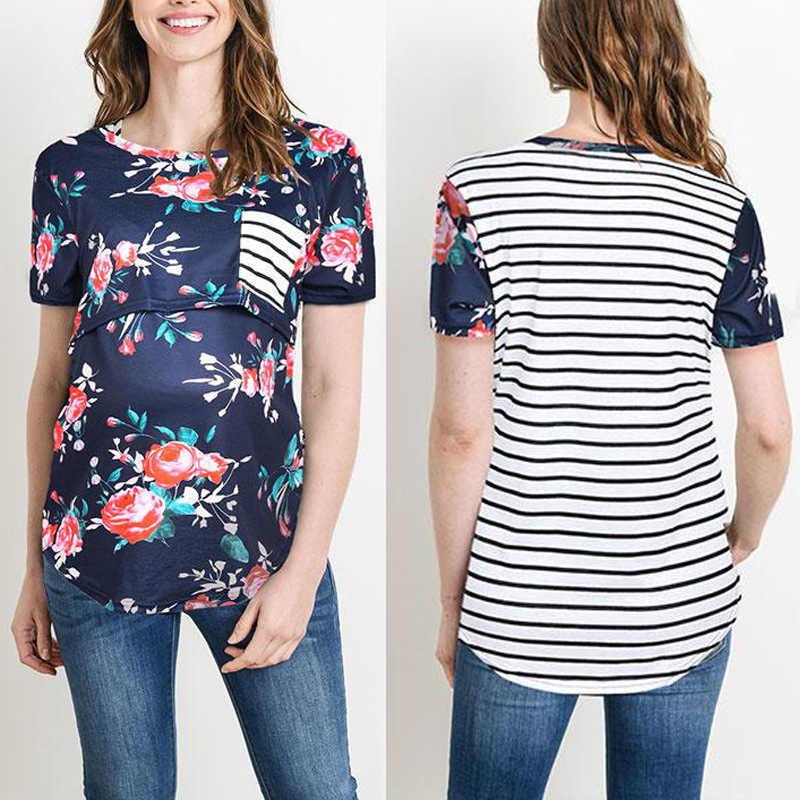 0f4153dcb40a5 Breastfeeding Clothes Maternity Nursing Tops For Pregnant Women Shirts  Feeding Pregnancy Tops Short Sleeve Print Gravidas