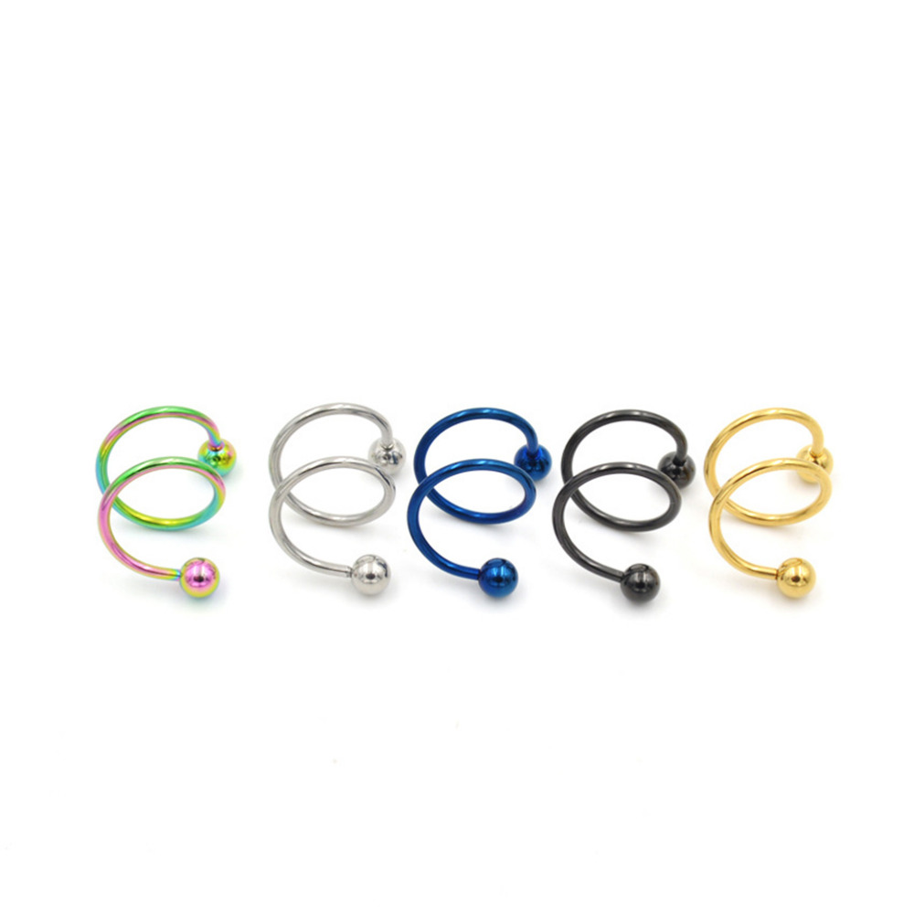 1 Pc Unique Design Stainless Steel Ball Spiral Twisted Ear Bone Piercing Earrings Nose Stud Lip Ring Women Body Jewelry body jewelry