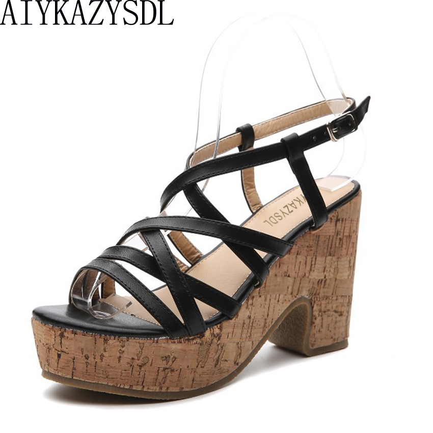 2118cfc4b0ce AIYKAZYSDL 2018 Women Gladiator Sandals Open Toe Cross Strap Wooded Print  High Heels Wedge Platform Shoes Rome Pumps Thick Heels