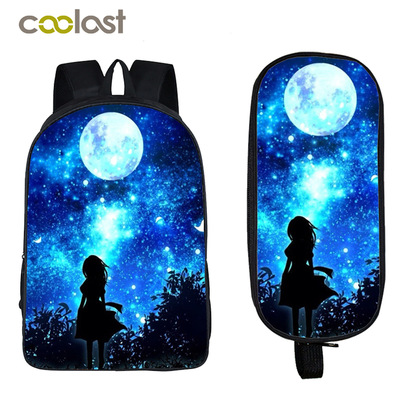 Galaxy Backpack for Teenage Girls Boys Bookbag Students Backpack + Pencil Holder Children School Bags mochila Kids School Gift