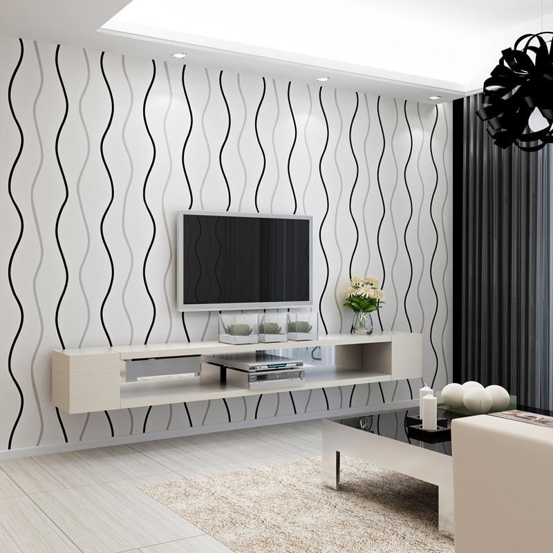 Beibehang venda moderno curva simples listras papel de - Papel de pared moderno ...