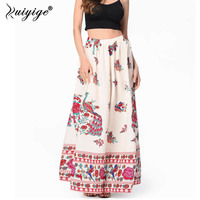 2017 Boho Beach High Waist Long Skirts Women Vintage Floral Print Skirt Chiffon Retro Empire Bohemian