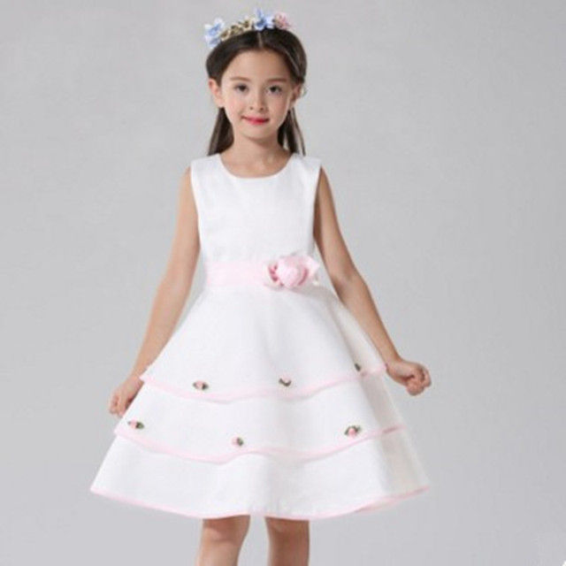 e2ff53a9db5b8 Children Princess Clothing Fashion Kids Christmas party Dress costume  Clothes Sleeveless Flower Dresses for Girls wedding gown