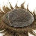 Мужская Парик 100% Натуральных Волос Средней Браун Супер Изысканные Французские Кружева Волос Замены Системы H039
