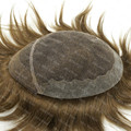 Mens Toupee 100% Natural Hair Middle Brown Super Fine French Lace Hair Replacement Systems H039