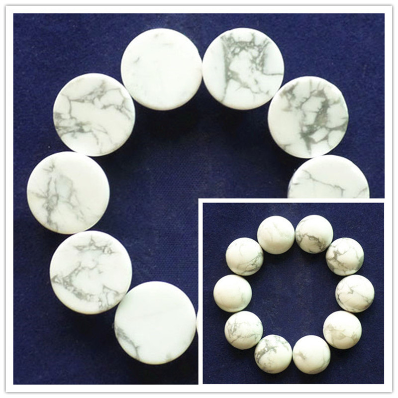 (10 pieces/lot) Wholesale Natural White Howlite Round CAB Cabochon 14x6mm Free Shipping Fashion Jewelry RO2026