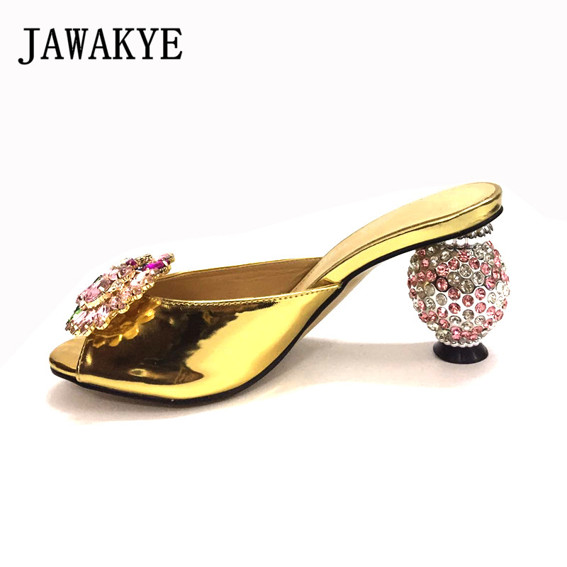 Beading Round Heel Formal Mules Metallic Gold Leather Summer Slippers Open Toe High Heel Crystal Dress