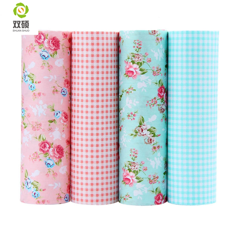 Shuanshuo Patchwork Cotton Fabric Fett Quaters Tilda Cloth Quilting Patchwork Stoffer Til Sy Dukkeduk 4pcs / lot 40 * 50CM