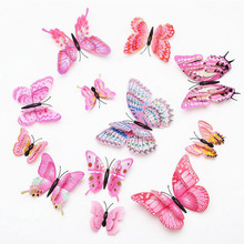 Wholesale new double - layer stereo simulation butterfly suit 3D DIY wall stickers refrigerator home decoration
