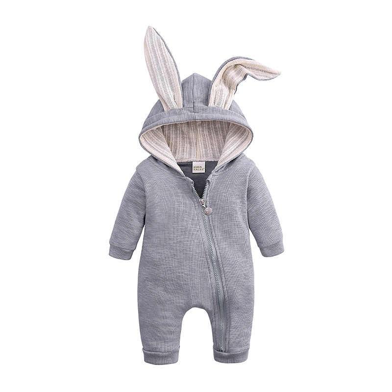 Детские комбинезоны для новорожденных; Одежда для мальчиков; хлопковый милый комбинезон с длинными рукавами и капюшоном с кроликом; детская одежда с объемными ушками