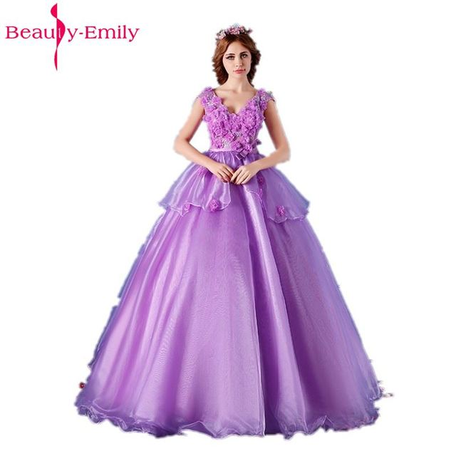 f2655154ee3 Beauty-Emily Purple Lace Ball Gown Quinceanera Dresses 2018 V-Neck Princess  Girl Dresses Backless Sleeveless Adult Party Gown