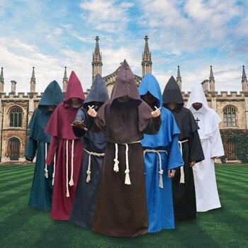 Hombre de cómic Cosplay traje de monje con capucha trajes capa fraile Medieval renacimiento sacerdote para los hombres