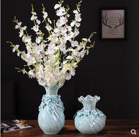 Creative blue ceramic vase, beautiful craft porcelain gift, home office desktop decoration