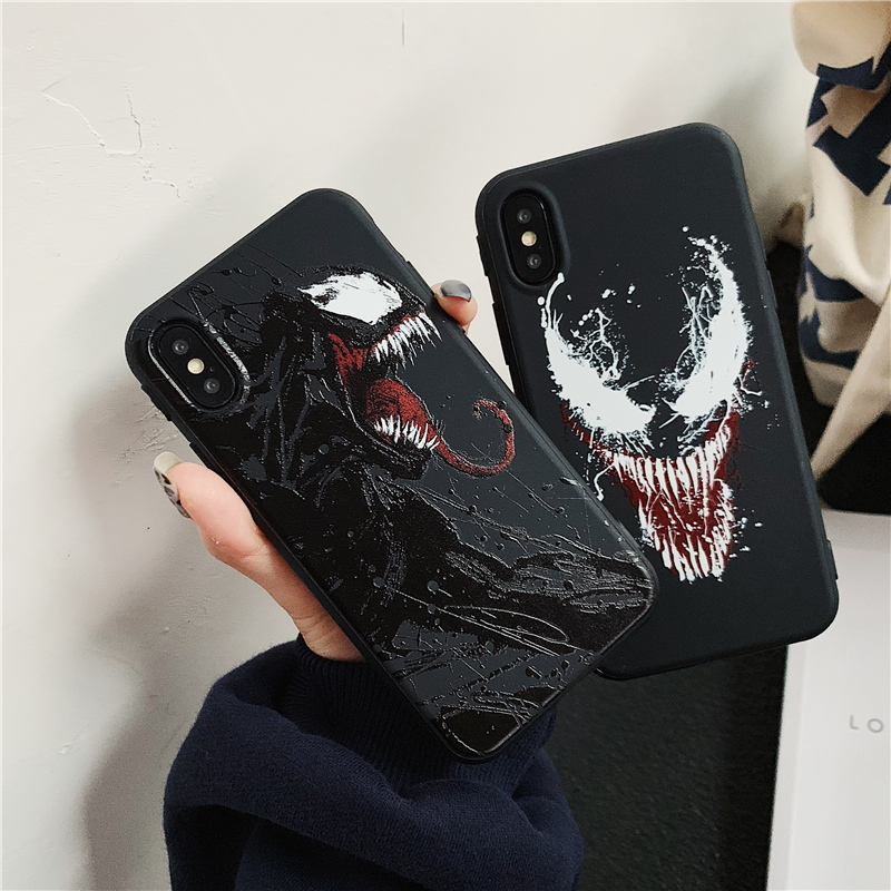 Marvel Venom Super hero emboss phone cases for iphone 6 6s 7 8 plus X XR XS Max DC Comics soft silicon case for iphone 7 чехлы марвел