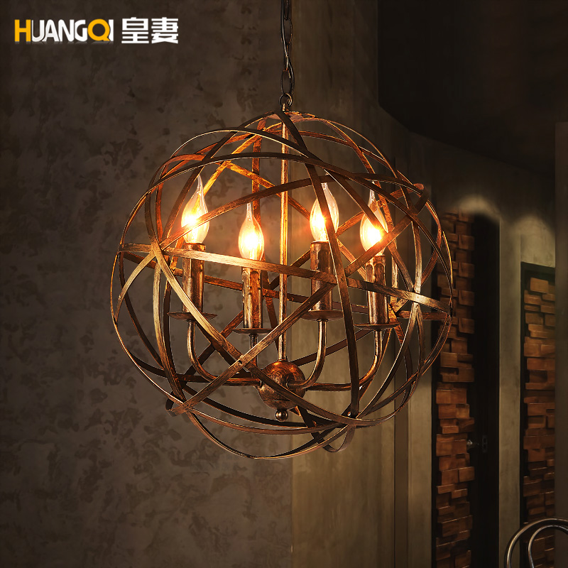 American loft retro industrial iron ball pendant light coffee shop restaurant bar hanging lighting american rural style pendant lights loft vintage pendant light restaurant coffee shop wrought iron sconces art deco lighting
