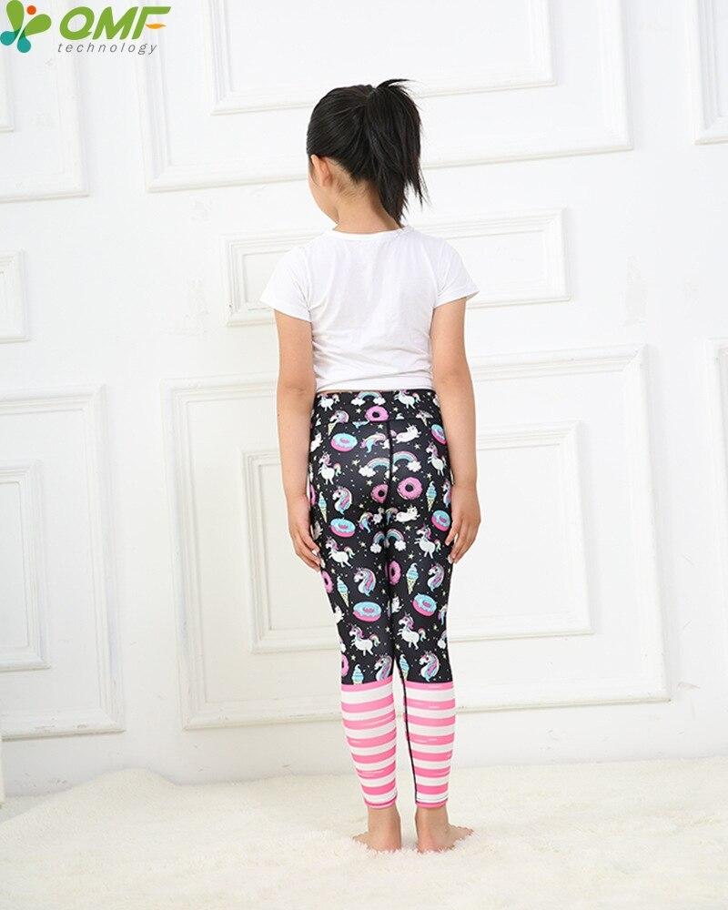 Cartoon Unicorns Print Cute Girl Yoga Pants Jogging Teenager Fitness Leggings Colorful Rainbow Kids Skinny Sports