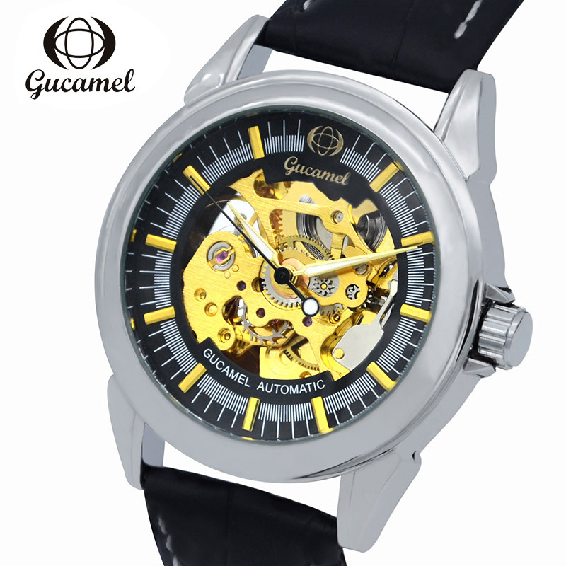 GUCAMEL Top Fashion Automotic Mechanical Men Watch Skeleton Luxury Brand Male Wristwatch Military Business Leather Strap Watches read men s business automatic mechanical leather strap watch luxury brand fashion waterproof wristwatch r8009