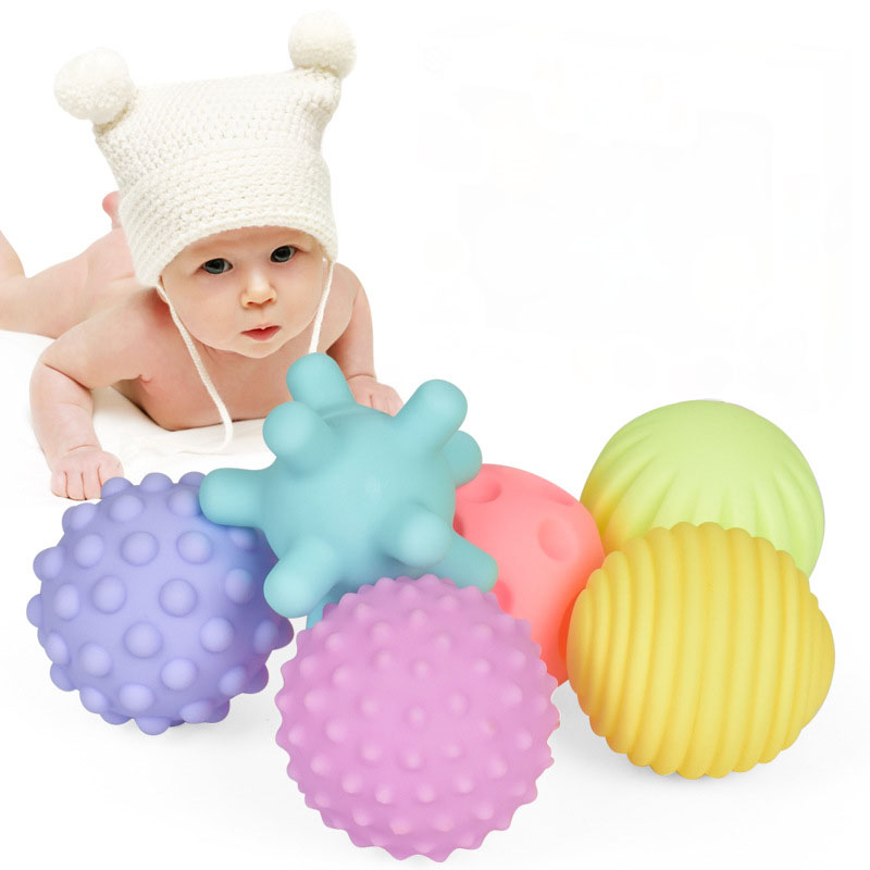 Infant Toys Early Education Puzzle Multi-Texture Soft Rubber Hand Ball 6 Sets Of Tactile Sensory Massage Ball Baby Development
