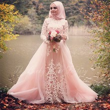 Romantic Long Sleeve Muslim Prom Dresses Blush Pink with Hijab Appliqued Lace Luxury Customize Women Formal Party Dress