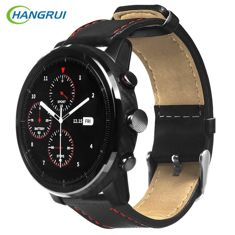 HANGRUI Smart Bands For Huami AMAZFIT Pace Stratos 2 Strap Genuine Leather Strap For Xiaomi Huami Amazfit 2 Bracelet Strap 22mm
