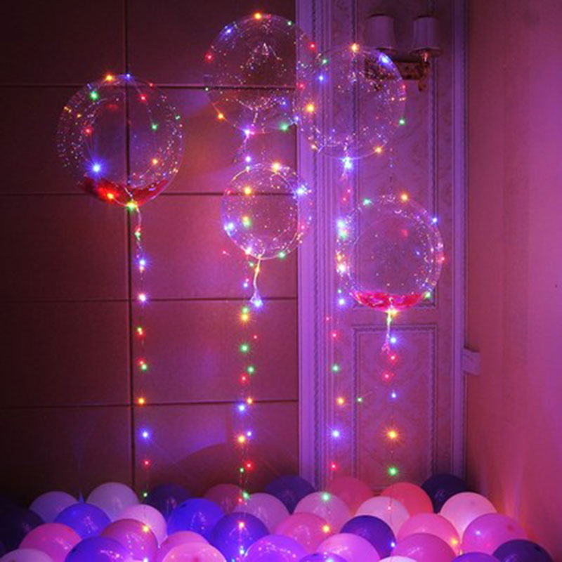 New 1psc18-inch transparent Bobo birthday party decoration wedding layout LED lantern glow line balloons toy balloon ...