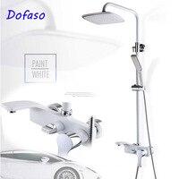 Dofaso retro European bathroom rainfall shower set white and gold shower mixer faucet shower black set antique shower equipment