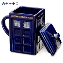 Kostenloser versand Doctor Who Tardis Kreative Police Box Becher Lustige Keramikkaffee-teeschale Für weihnachtsgeschenk