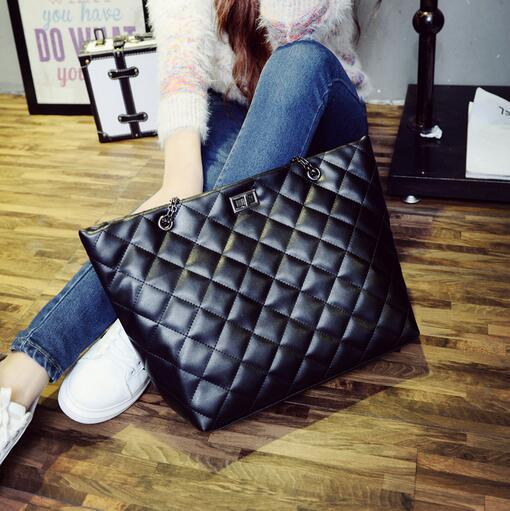 Otoño de La Manera nuevo bolso Femenino de gran capacidad de alta calidad de cuero de la pu bolso de las mujeres bolsa de la cadena Lingge Spiraea grande de bloqueo a su vez bolsa