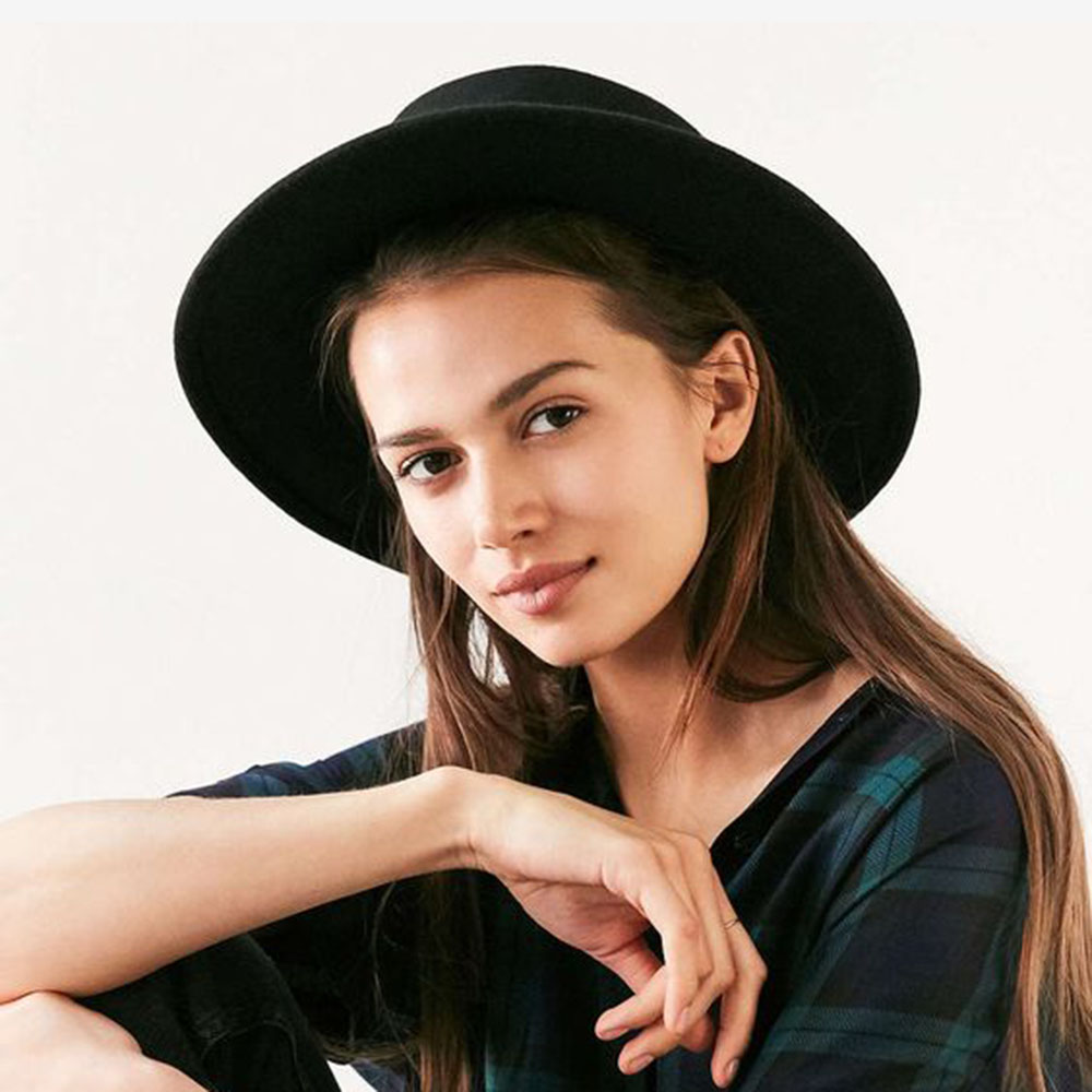 Wool Pork Pie Boater Flat Top Hat for Womens Mens Felt Wide Brim Fedora Gambler Hat