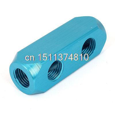 Air Compressor 1/2BSP 2 Way Hose Pipe Inline Manifold Block Splitter Teal Blue педаль compressor и equalizer strymon ob 1