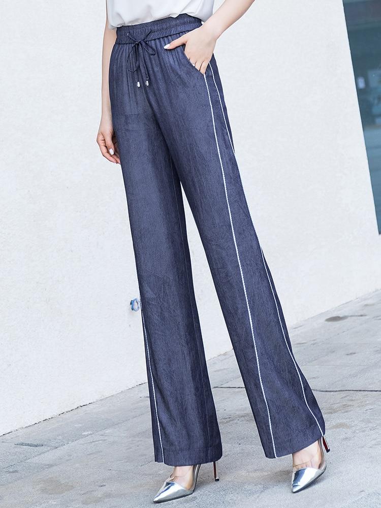 High Waist   Wide     Leg     Pants   Women 2019 Summer Elastic Waist Casual Loose Full Length Streetwear Trousers Harajuku Gothic Plus Size