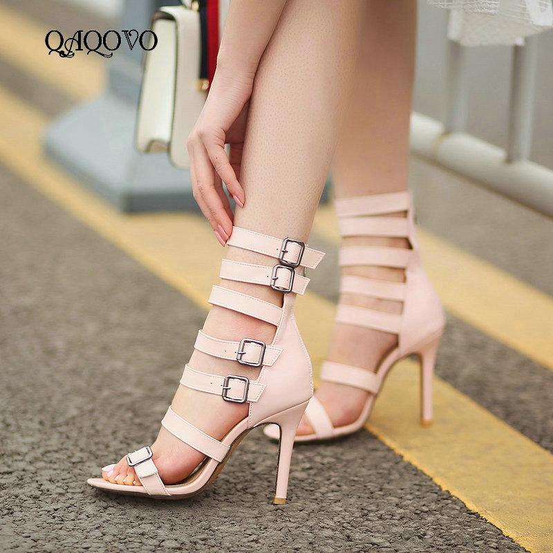 Women Gladiator High Heel Sandals Fashion Zipper Open Toe Summer Shoes Sexy Thin Heel Buckle Party Dress Shoes Women Big Size